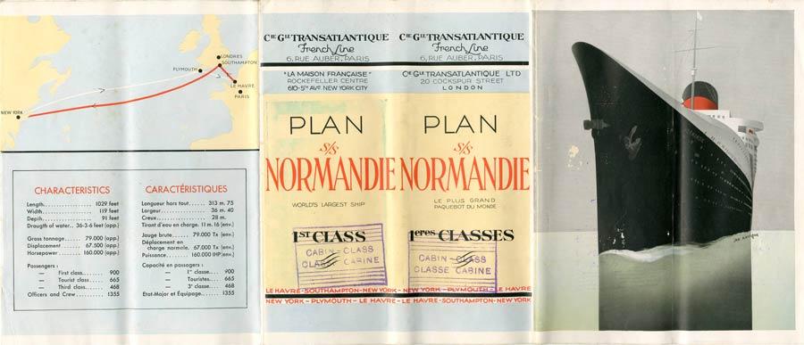 PAQUEBOT S.S NORMANDIE - PLAN 1ère CLASSE COULEURS JUILLET 1935 - COUV. OUVERTE