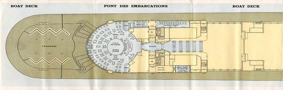 PAQUEBOT S.S NORMANDIE - PLAN 1ère CLASSE COULEURS JUILLET 1935 - PONT DES EMBARCATIONS GAUCHE