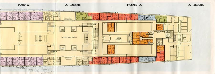 PAQUEBOT S.S NORMANDIE - PLAN 1ère CLASSE COULEURS JUILLET 1935 - PONT A DROITE