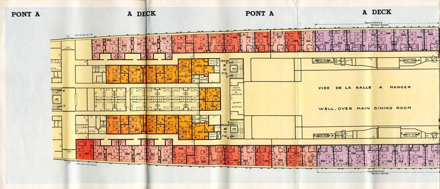 PAQUEBOT S.S NORMANDIE - PLAN 1ère CLASSE COULEURS JUILLET 1935 - PONT A GAUCHE