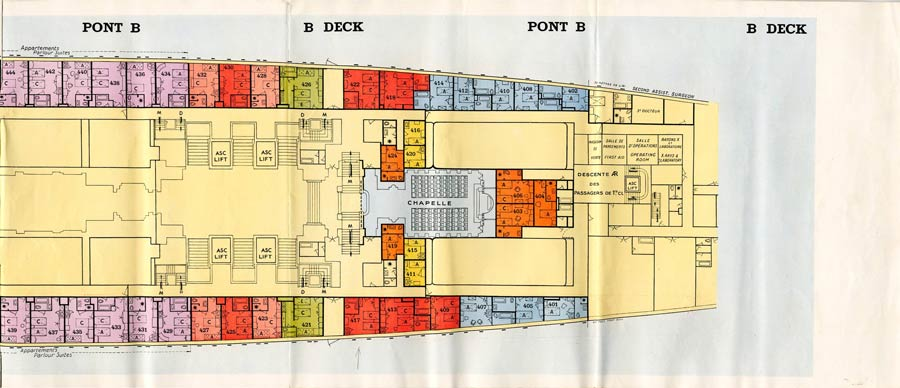 PAQUEBOT S.S NORMANDIE - PLAN 1ère CLASSE COULEURS JUILLET 1935 - PONT B DROITE