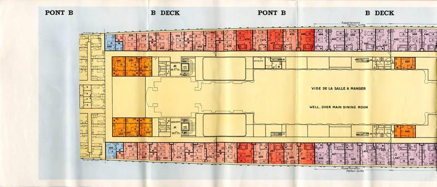 PAQUEBOT S.S NORMANDIE - PLAN 1ère CLASSE COULEURS JUILLET 1935 - PONT B GAUCHE
