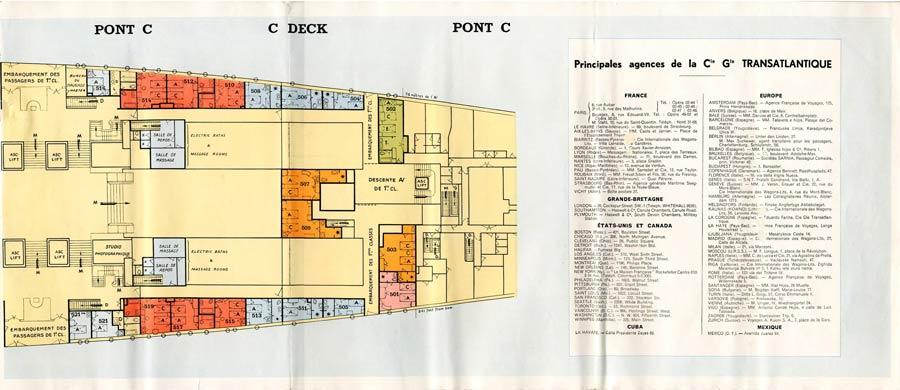 PAQUEBOT S.S NORMANDIE - PLAN 1ère CLASSE COULEURS JUILLET 1935 - PONT C DROITE