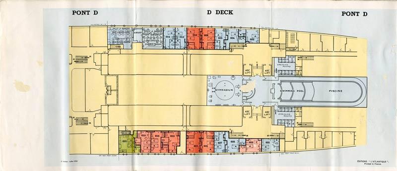PAQUEBOT S.S NORMANDIE - PLAN 1ère CLASSE COULEURS JUILLET 1935 - PONT D