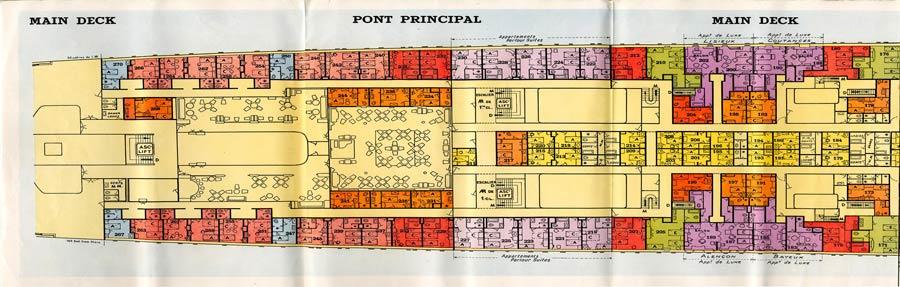 PAQUEBOT S.S NORMANDIE - PLAN 1ère CLASSE COULEURS JUILLET 1935 - PONT PRINCIPAL GAUCHE