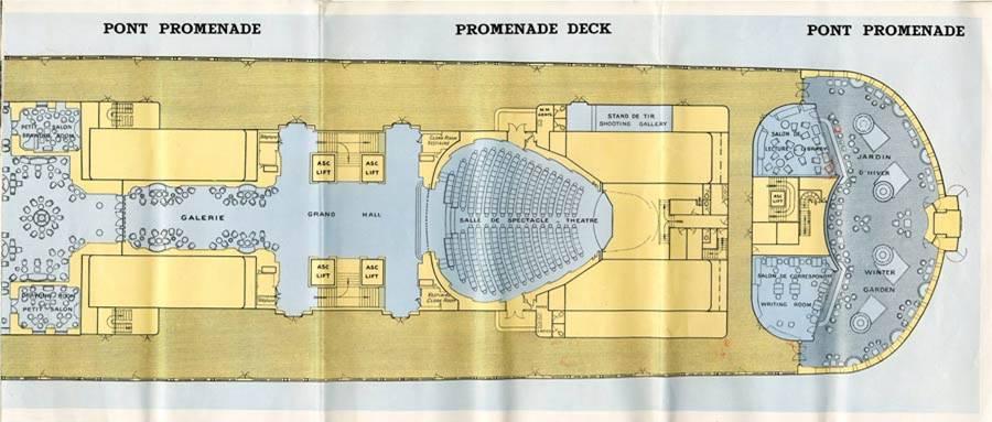 PAQUEBOT S.S NORMANDIE - PLAN 1ère CLASSE COULEURS JUILLET 1935 - PONT PROMENADE DROITE