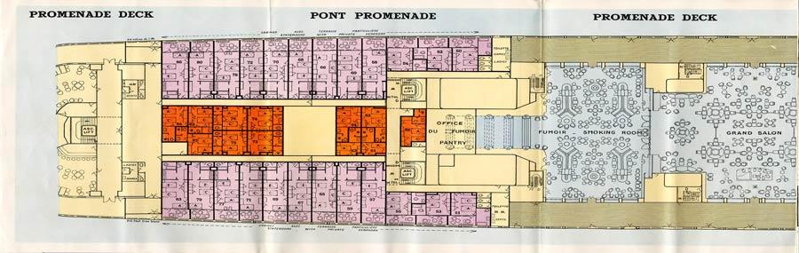PAQUEBOT S.S NORMANDIE - PLAN 1ère CLASSE COULEURS JUILLET 1935 - PONT PROMENADE GAUCHE