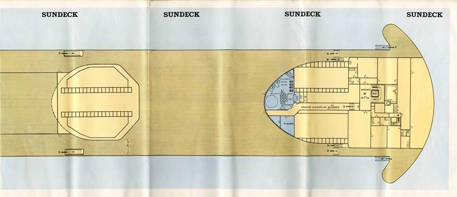 PAQUEBOT S.S NORMANDIE - PLAN 1ère CLASSE COULEURS JUILLET 1935 - SUNDECK DROITE