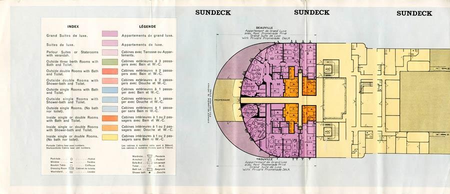 PAQUEBOT S.S NORMANDIE - PLAN 1ère CLASSE COULEURS JUILLET 1935 - SUNDECK GAUCHE