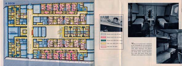 PAQUEBOT S.S NORMANDIE - PLAN ISOMETRIQUE 2ème CLASSE COULEURS JANVIER 1937 - PONT A