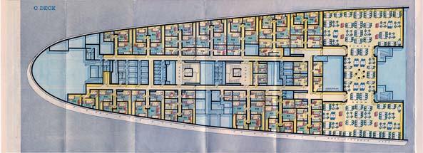 PAQUEBOT S.S NORMANDIE - PLAN ISOMETRIQUE 2ème CLASSE COULEURS JANVIER 1937 - PONT C