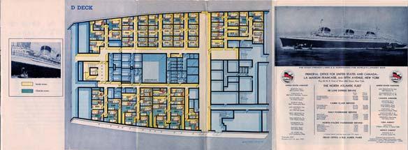 PAQUEBOT S.S NORMANDIE - PLAN ISOMETRIQUE 2ème CLASSE COULEURS JANVIER 1937 - PONT D