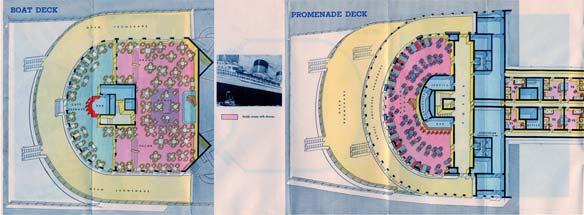 PAQUEBOT S.S NORMANDIE - PLAN ISOMETRIQUE 2ème CLASSE COULEURS JANVIER 1937 - PONT DES EMBARCATIONS ET PONT PROMENADE