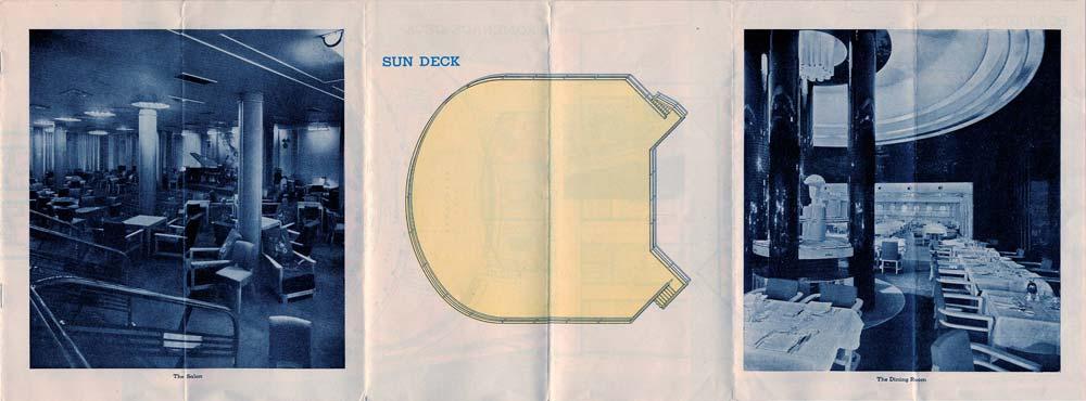PAQUEBOT S.S NORMANDIE - PLAN ISOMETRIQUE 2ème CLASSE COULEURS JANVIER 1937 - SUN DECK