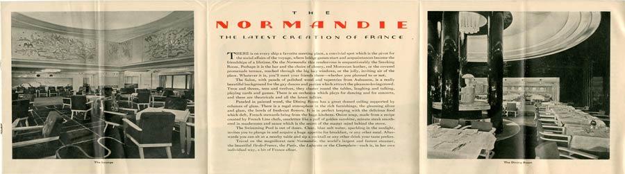 PAQUEBOT S.S NORMANDIE - PLAN ISOMETRIQUE 2ème CLASSE COULEURS AVRIL 1936 - COUVERTURE VERSO