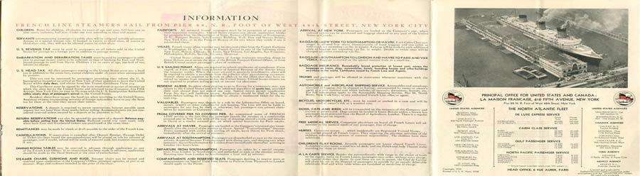 PAQUEBOT S.S NORMANDIE - PLAN ISOMETRIQUE 2ème CLASSE COULEURS AVRIL 1936 - PAGES D`INFORMATIONS DROITE