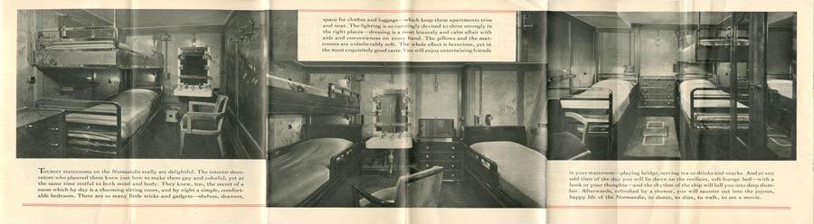 PAQUEBOT S.S NORMANDIE - PLAN ISOMETRIQUE 2ème CLASSE COULEURS AVRIL 1936 - PAGES D`INFORMATIONS GAUCHE