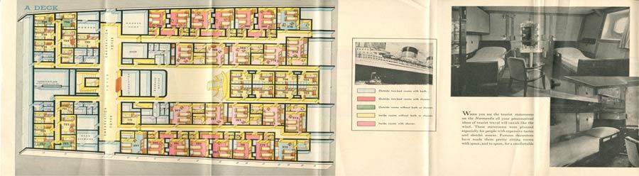 PAQUEBOT S.S NORMANDIE - PLAN ISOMETRIQUE 2ème CLASSE COULEURS AVRIL 1936 - PONT A