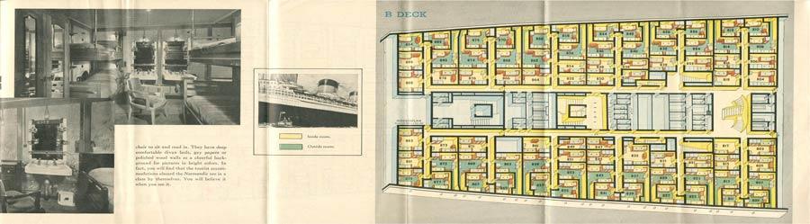 PAQUEBOT S.S NORMANDIE - PLAN ISOMETRIQUE 2ème CLASSE COULEURS AVRIL 1936 - PONT B