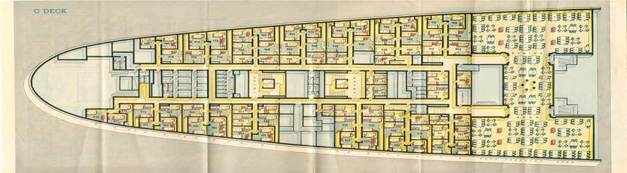 PAQUEBOT S.S NORMANDIE - PLAN ISOMETRIQUE 2ème CLASSE COULEURS AVRIL 1936 - PONT C