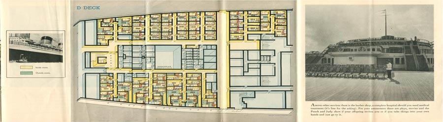 PAQUEBOT S.S NORMANDIE - PLAN ISOMETRIQUE 2ème CLASSE COULEURS AVRIL 1936 - PONT D