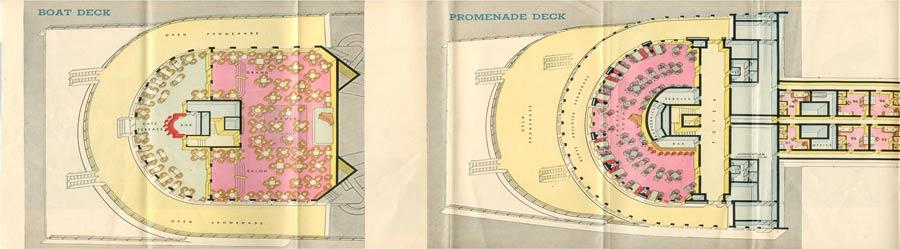 PAQUEBOT S.S NORMANDIE - PLAN ISOMETRIQUE 2ème CLASSE COULEURS AVRIL 1936 - PONT DES EMBARCATIONS ET PONT PROMENADE