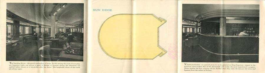 PAQUEBOT S.S NORMANDIE - PLAN ISOMETRIQUE 2ème CLASSE COULEURS AVRIL 1936 - 2ème page droite LE SUNDECK