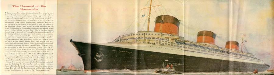 PAQUEBOT S.S NORMANDIE - PLAN ISOMETRIQUE 2ème CLASSE COULEURS AVRIL 1936 - 1ère page gauche