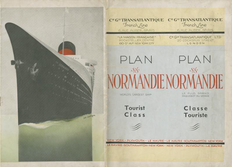 PAQUEBOT S.S NORMANDIE - PLAN 2ème CLASSE COULEURS NON DATE MAIS PROBABLEMENT 1935 - COUV. OUVERTE