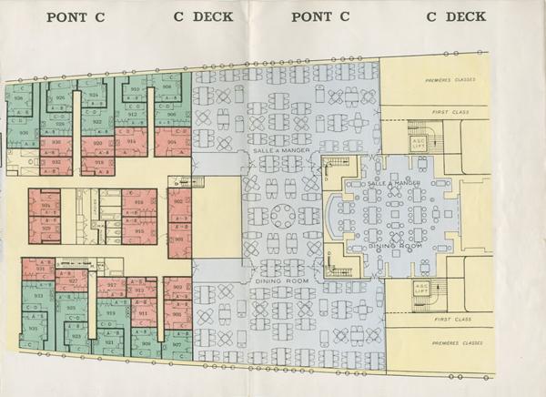 PAQUEBOT S.S NORMANDIE - PLAN 2ème CLASSE COULEURS NON DATE MAIS PROBABLEMENT 1935 - LE PONT C DROITE