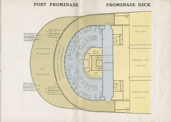 PAQUEBOT S.S NORMANDIE - PLAN 2ème CLASSE COULEURS NON DATE MAIS PROBABLEMENT 1935 - LE PONT PROMENADE