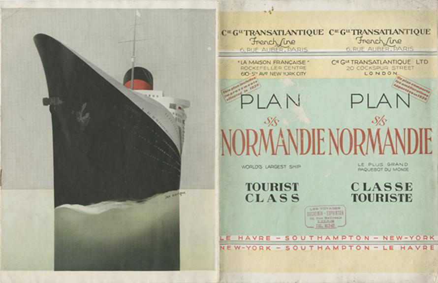 PAQUEBOT S.S NORMANDIE - PLAN 2ème CLASSE COULEURS 1936 - COUV. OUVERTE