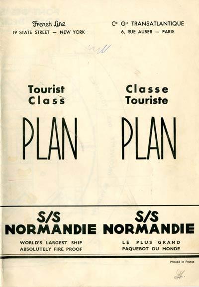 S.S NORMANDIE - PLAN DES 2èmes CLASSES - NOIR ET BLANC EDITION 1935 - COUVERTURE FERMEE