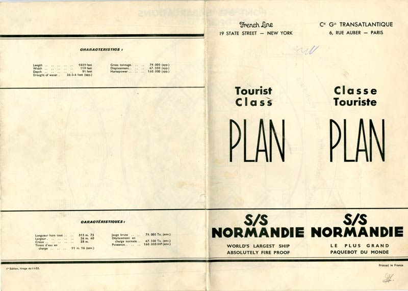 S.S NORMANDIE - PLAN DES 2èmes CLASSES - NOIR ET BLANC EDITION 1935 - COUVERTURE OUVERTE