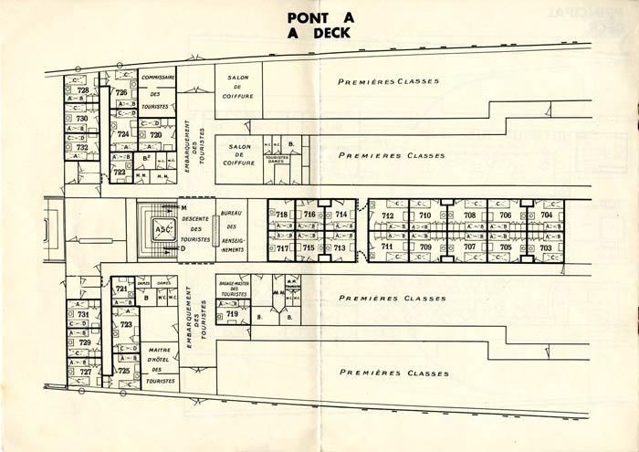 S.S NORMANDIE - PLAN DES 2èmes CLASSES - NOIR ET BLANC EDITION 1935 - PONT A