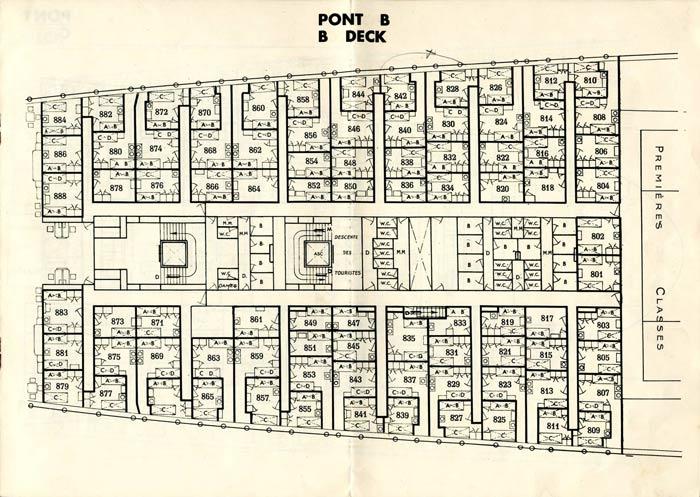 S.S NORMANDIE - PLAN DES 2èmes CLASSES - NOIR ET BLANC EDITION 1935 - PONT B