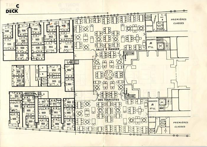 S.S NORMANDIE - PLAN DES 2èmes CLASSES - NOIR ET BLANC EDITION 1935 - PONT C DROITE