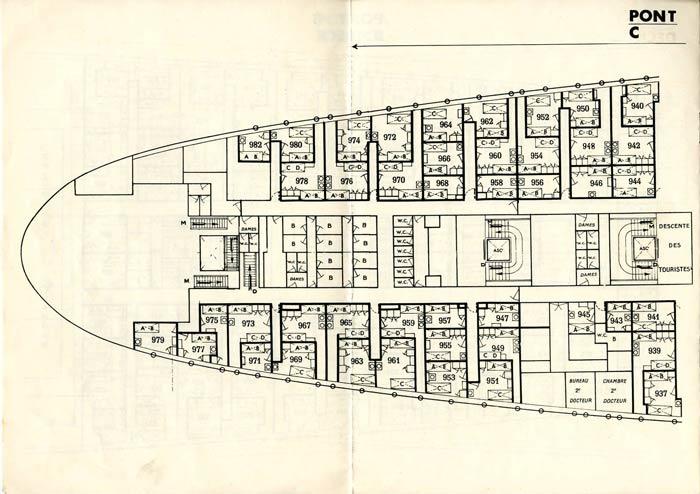 S.S NORMANDIE - PLAN DES 2èmes CLASSES - NOIR ET BLANC EDITION 1935 - PONT C GAUCHE