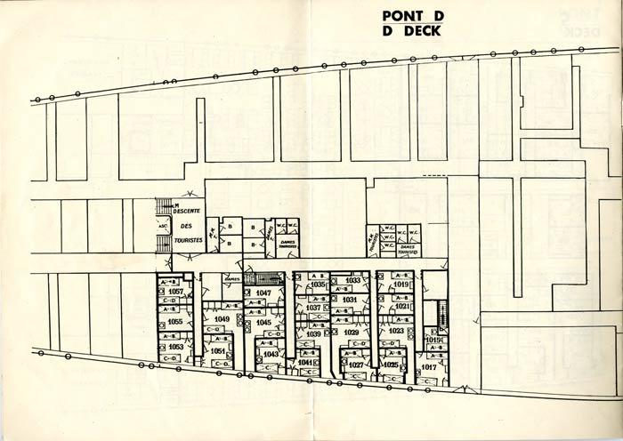 S.S NORMANDIE - PLAN DES 2èmes CLASSES - NOIR ET BLANC EDITION 1935 - PONT D