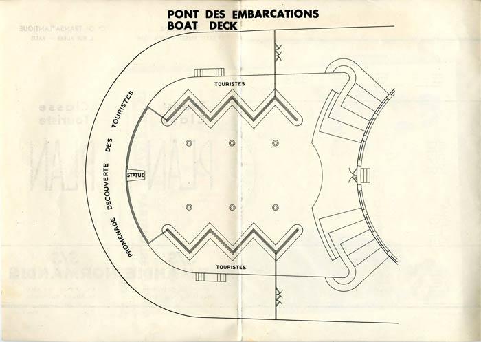 S.S NORMANDIE - PLAN DES 2èmes CLASSES - NOIR ET BLANC EDITION 1935 - PONT DES EMBARCATIONS