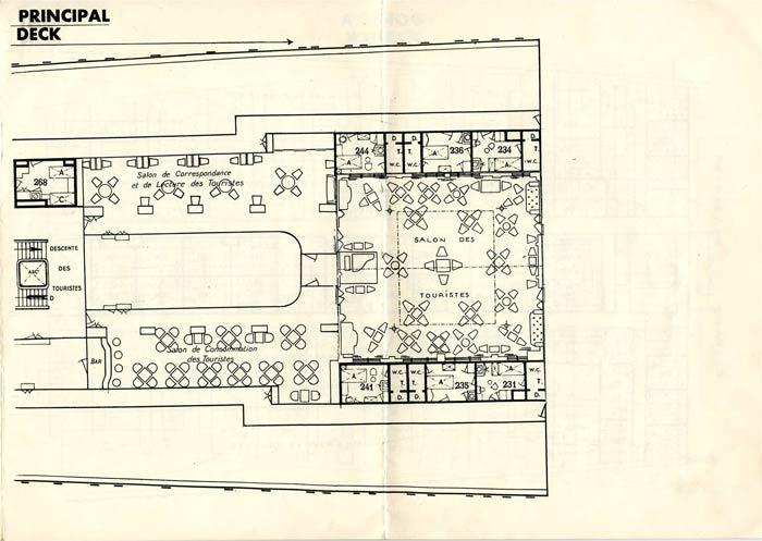S.S NORMANDIE - PLAN DES 2èmes CLASSES - NOIR ET BLANC EDITION 1935 - PONT PRINCIPAL DROITE