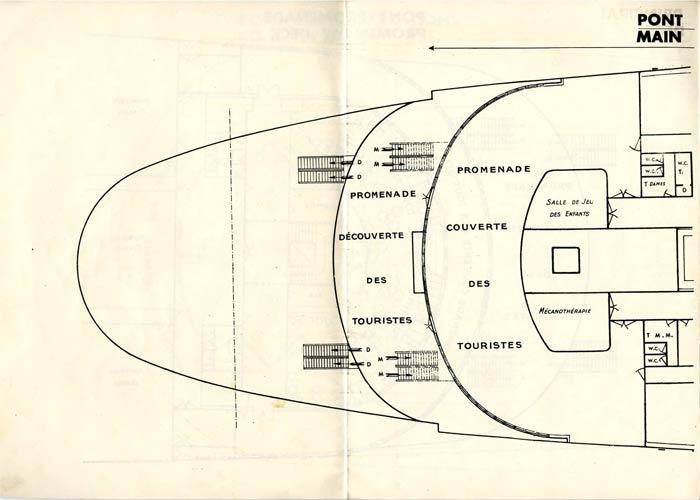S.S NORMANDIE - PLAN DES 2èmes CLASSES - NOIR ET BLANC EDITION 1935 - PONT PRINCIPAL GAUCHE