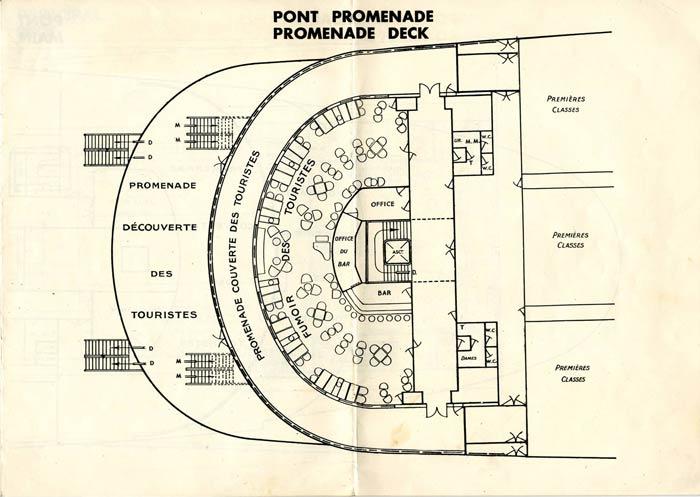 S.S NORMANDIE - PLAN DES 2èmes CLASSES - NOIR ET BLANC EDITION 1935 - PONT PROMENADE
