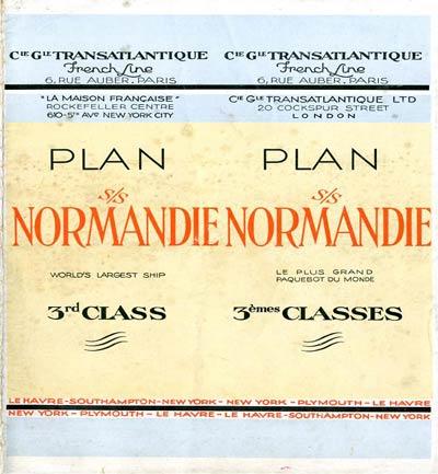 PAQUEBOT S.S NORMANDIE - PLAN 3ème CLASSE COULEURS SUPPOSE JUILLET 1935 - COUVERTURE FERMEE