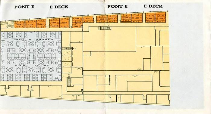 PAQUEBOT S.S NORMANDIE - PLAN 3ème CLASSE COULEURS SUPPOSE JUILLET 1935 - PONT E DROITE