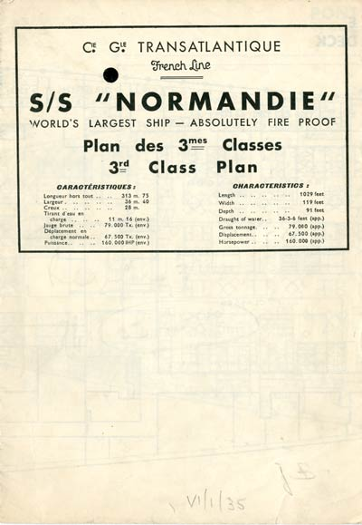 PAQUEBOT S.S NORMANDIE - PLAN DES 3èmes CLASSES - NOIR ET BLANC EDITION JANVIER 1935 - COUVERTURE FERMEE