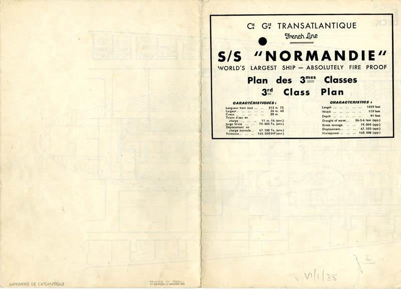 PAQUEBOT S.S NORMANDIE - PLAN DES 3èmes CLASSES - NOIR ET BLANC EDITION JANVIER 1935 - COUVERTURE OUVERTE