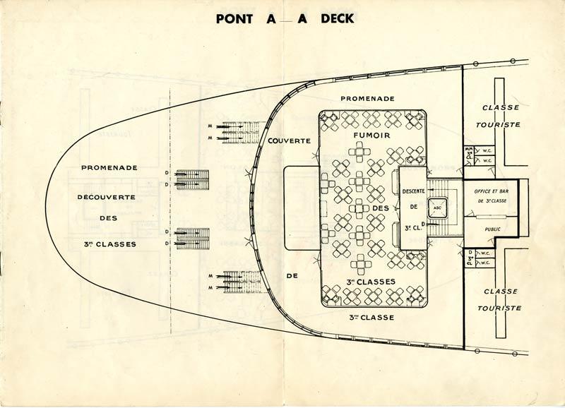 PAQUEBOT S.S NORMANDIE - PLAN DES 3èmes CLASSES - NOIR ET BLANC EDITION JANVIER 1935 - PONT A