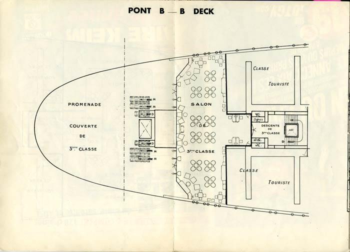 PAQUEBOT S.S NORMANDIE - PLAN DES 3èmes CLASSES - NOIR ET BLANC EDITION JANVIER 1935 - PONT B