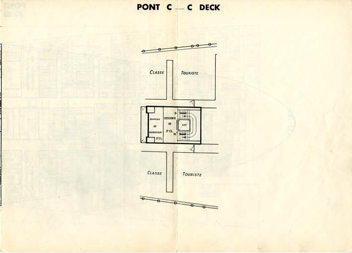 PAQUEBOT S.S NORMANDIE - PLAN DES 3èmes CLASSES - NOIR ET BLANC EDITION JANVIER 1935 - PONT C